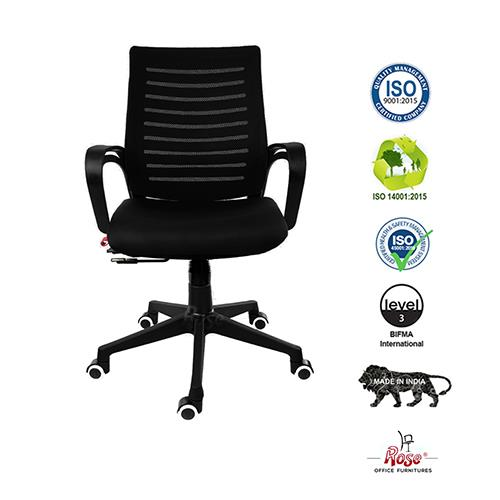 Rose Elite Mesh Mid Back Office Chair (Black)