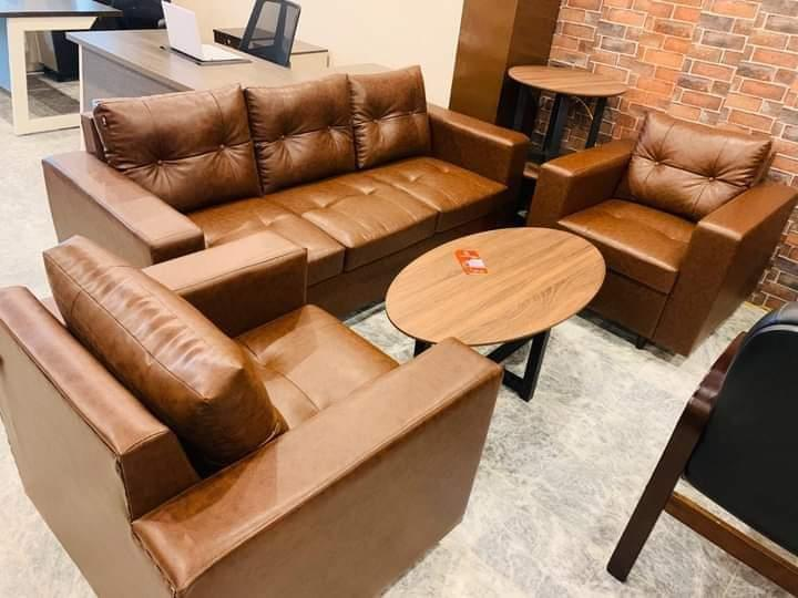 3+1+1 seater sofa with premium brown leather