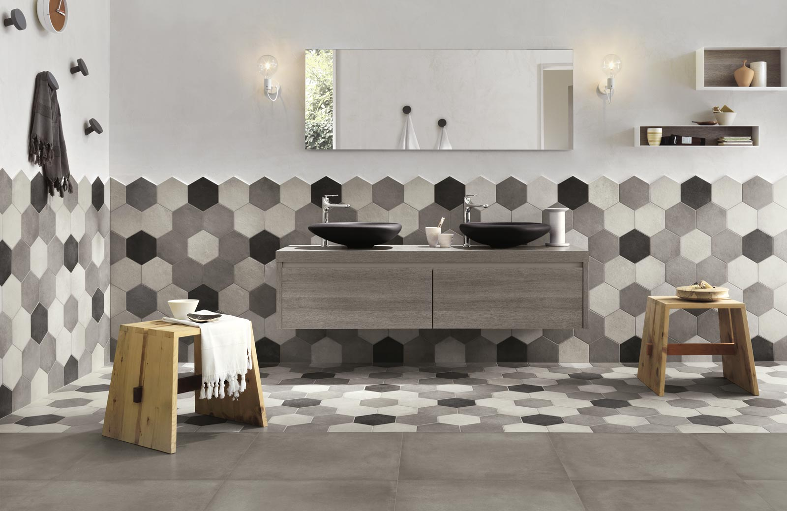 Bathroom Walls Hexagon Tiles