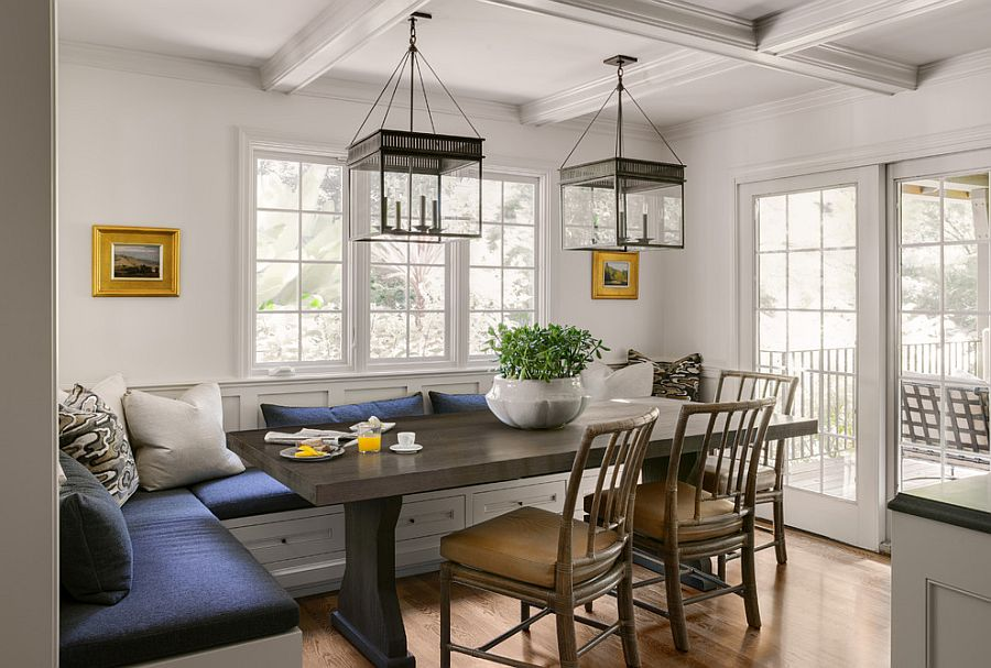 benches along the walls dining room ideas