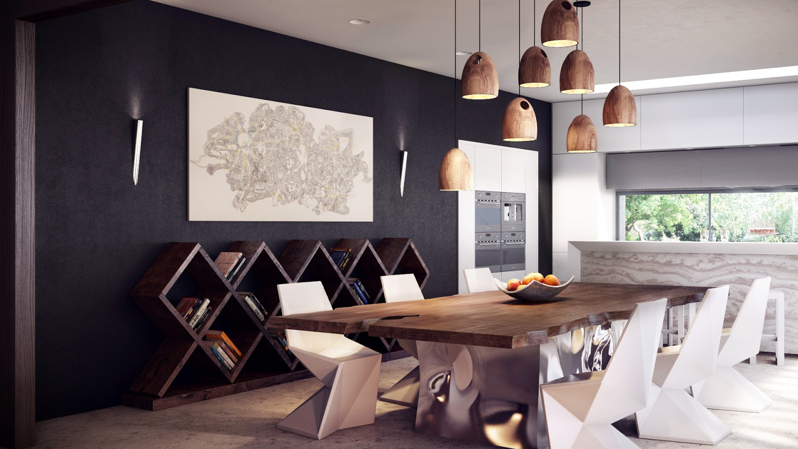 Dining Room with Lamps