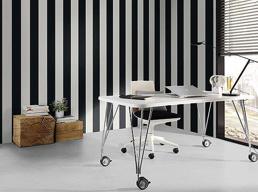 Black-White-Striped-office -Wallpaper