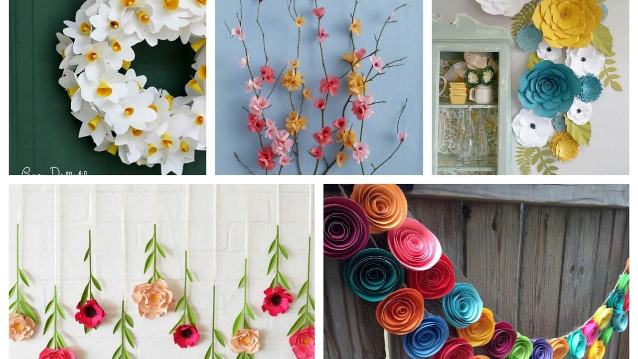 threaded paper flower decor ideas