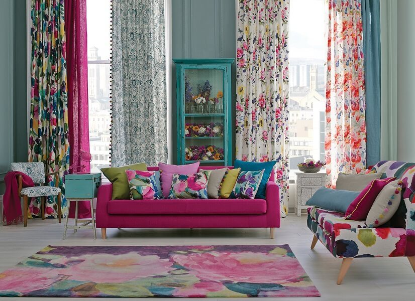 Bold color cushion and curtains ideas