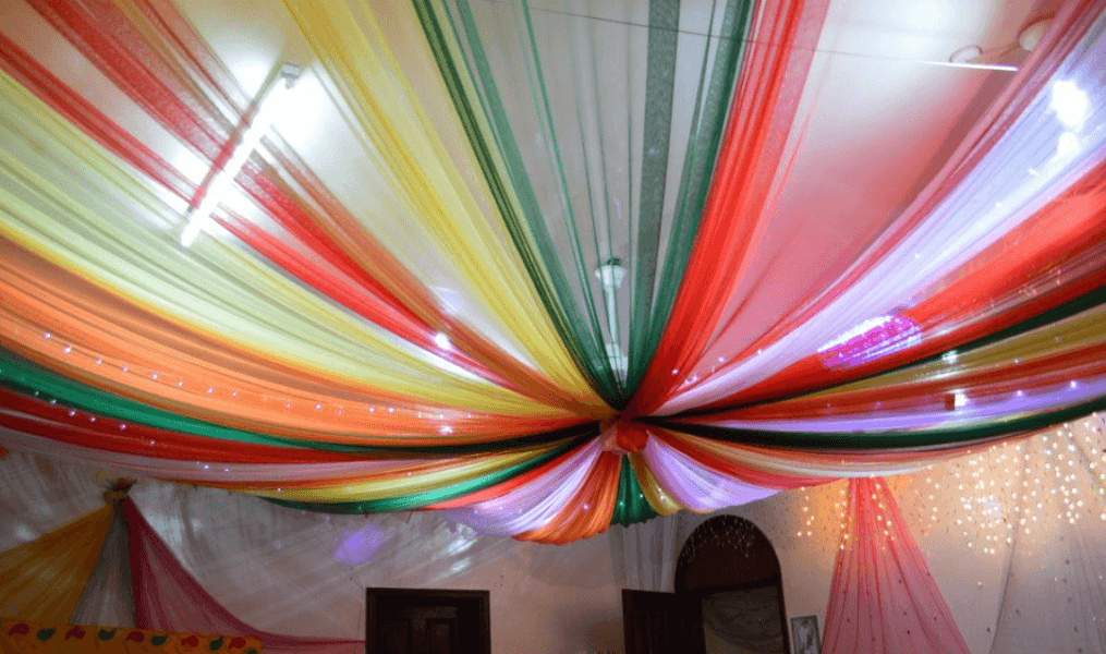 Colored Cloths False Ceiling