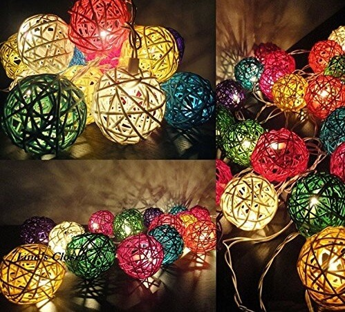 20 Mixed Color Rattan Ball String Lights Series