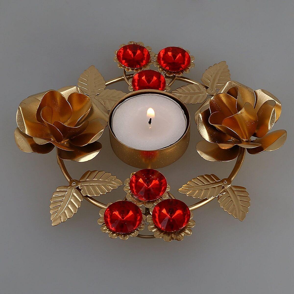 Diwali Diya Lights Candle Holder Floral Arrangements