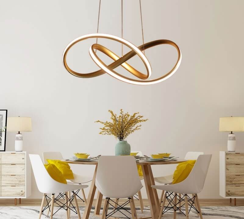 Dining Room with Metal LED Pendant
