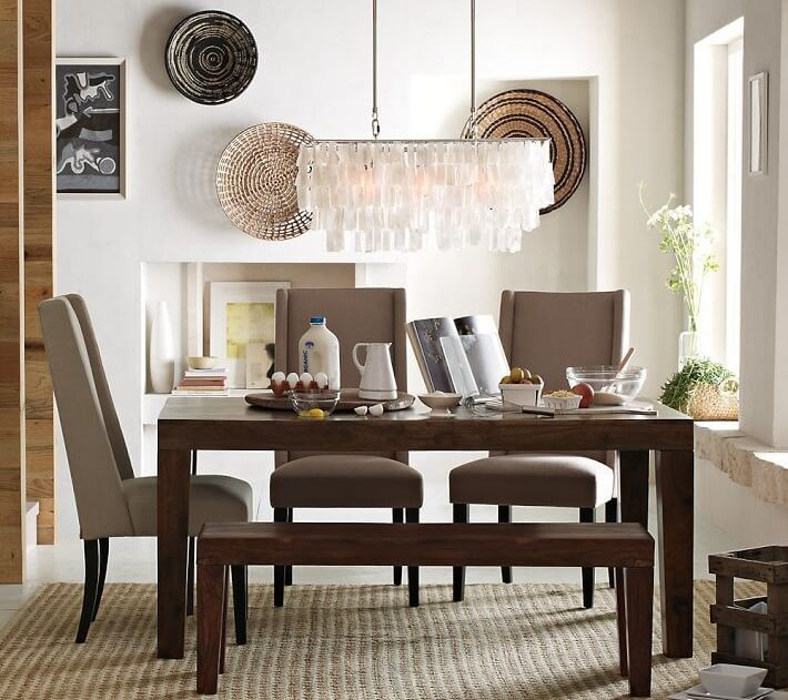Feel like Beach by Placing Shell Chandelier in Dining Room
