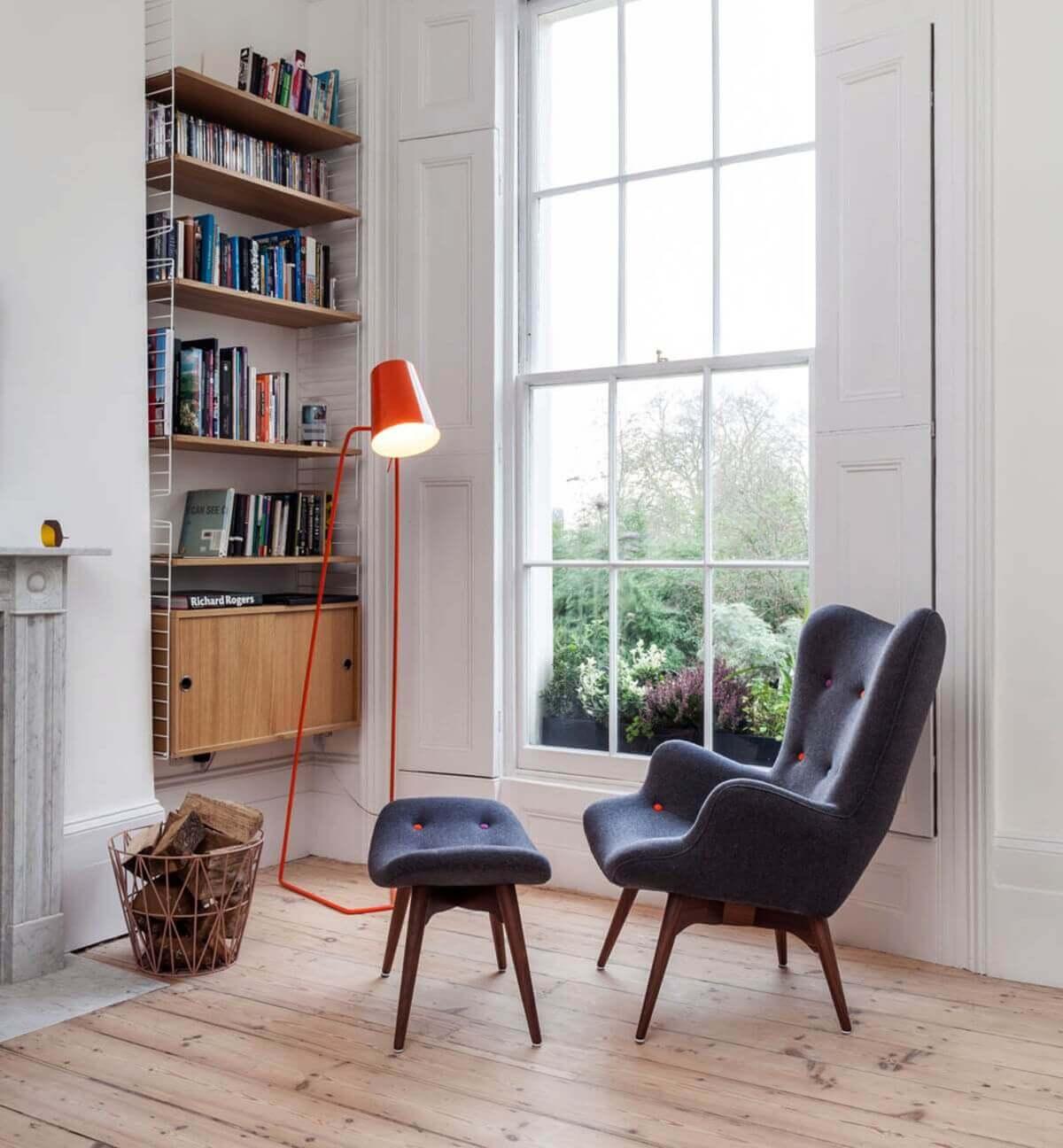 Cozy Reading Spot and Bookshelf