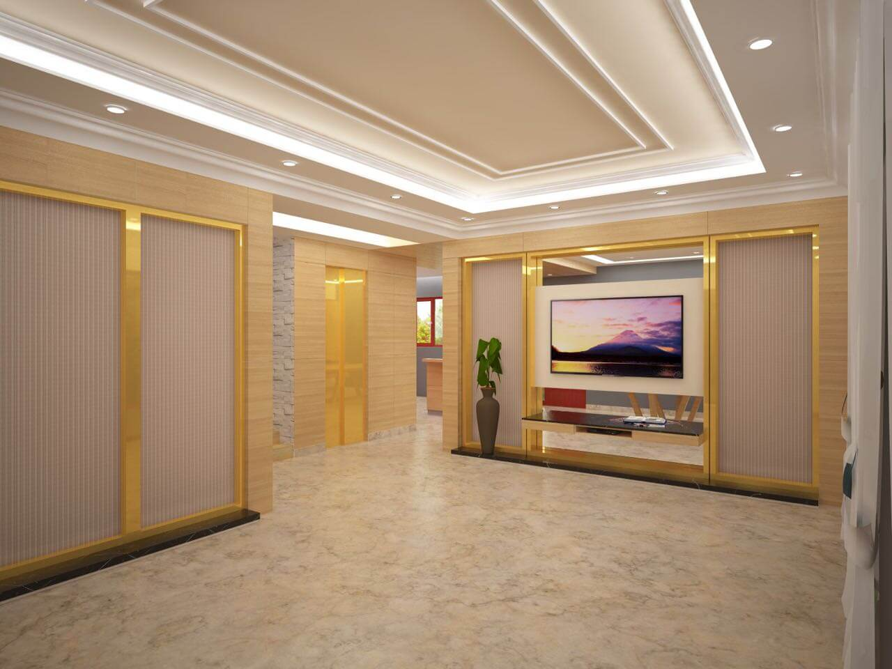Living Room with Golden Touch