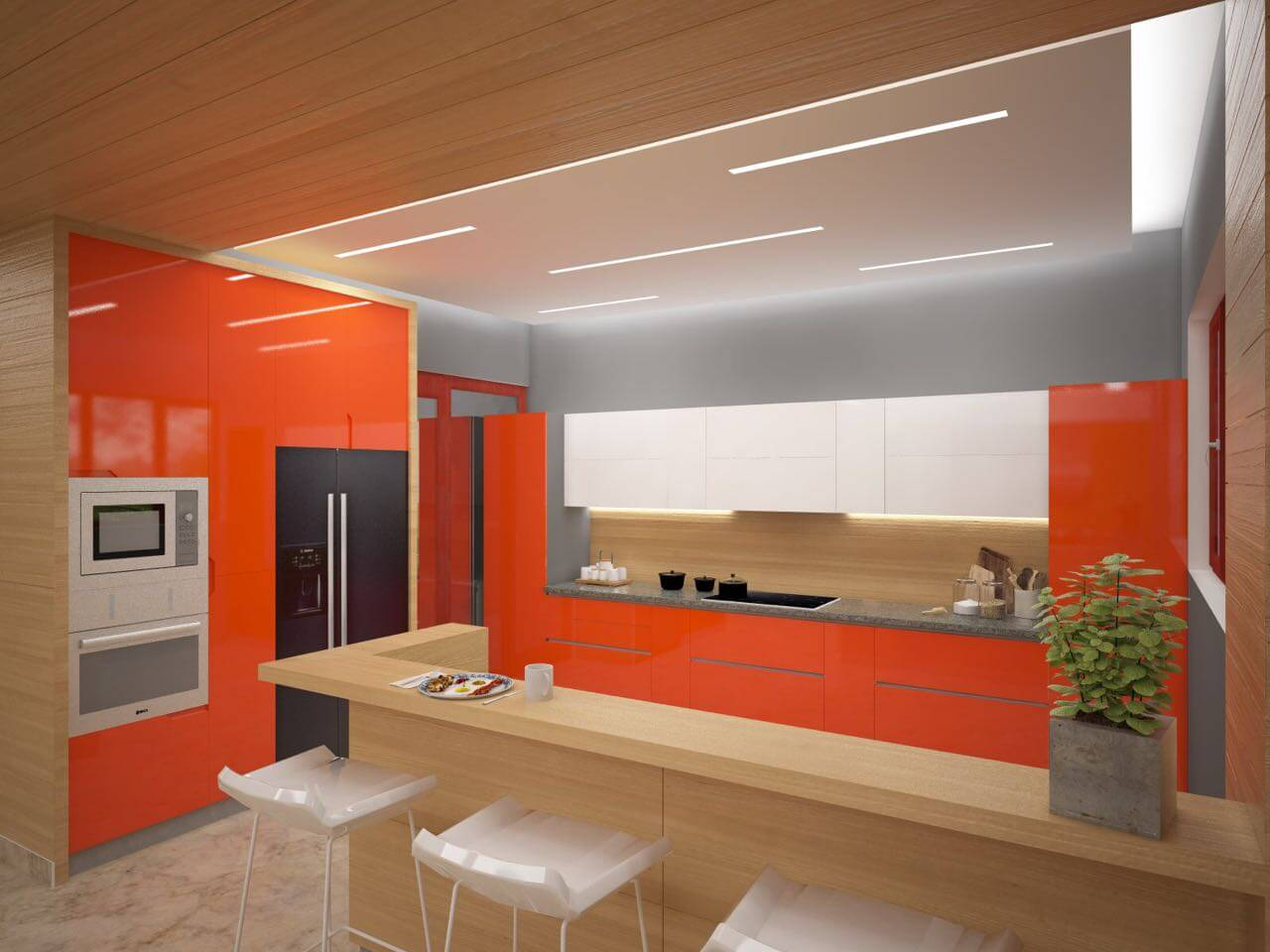 Combination of Wood and Orange Accent