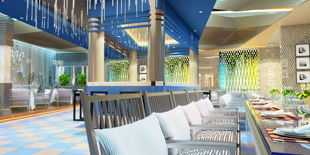 Hotel Dining Hall  Design and 3D Visualization