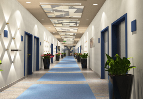 Hotel Rooms Corridor Design and 3D Visualization