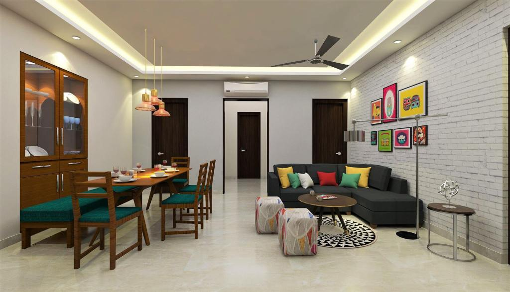Colored Living with Dining Room